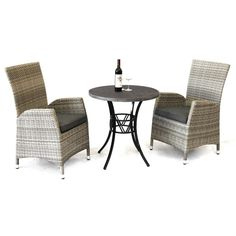 Sorrento 3 Piece Outdoor Round Dining Table Set, 70cm, Grey - Outdoor Indoor Outdoor Furniture, Outdoor Decor, Round Dining Table Sets, Faux Stone, Sorrento, 3 Piece, Chair, Grey, Home Decor