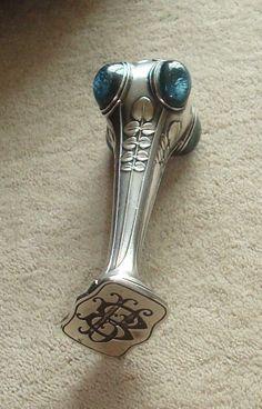 c1900ART NOUVEAU,French Silver??  Desk wax seal,pale blue Carbouchons SUPERB!!!!