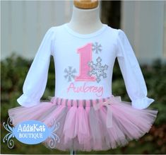 Personalized Light Pink and Gray Winter ONEderland Birthday Silver Sparkle Snowflake Tutu Outfit-winter onederland, wonderland, personalized...