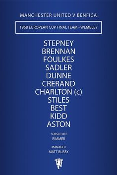 Manchester United - 1968 European Cup Final Team