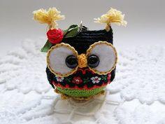 Owl keychain , crochet owl key chain, amigurumi owl toy, bag charm, handbag accessory by Laska
