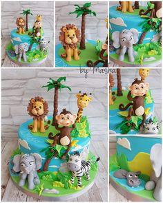Happy jungle friends by Sweet cakes by Masha Safari Birthday Cakes, Jungle Theme Cakes, Animal Themed Birthday Party, Jungle Theme Birthday, Safari Cakes, Wild One Birthday Party, Monkey Birthday, Baby 1st Birthday, Torta Blaze