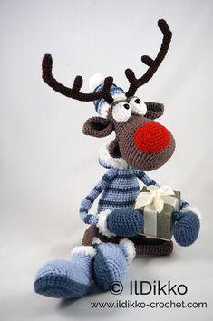 Amigurumi Pattern Rudolf the Reindeer XL English Version image 4 Crochet Animal Patterns, Stuffed Animal Patterns, Crochet Amigurumi, Amigurumi Patterns, Catania, Double Crochet, Single Crochet, Cross Stitch Stocking, Christmas Moose