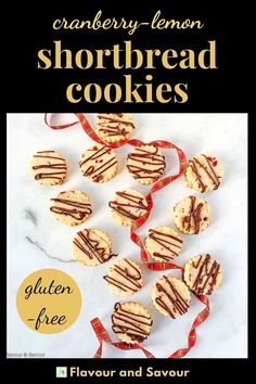 Gluten-free Cranberry Lemon Almond Shortbread Cookies made with almond flour are easy to make. Try them either as a slice and bake cookie, or as a rolled cut-out cookie. Tender cookies to decorate with chocolate drizzle if you'd like! #almond #shortbread #glutenfree #easy #sliceandbake #cutout Cut Out Cookie Recipe, Cut Out Cookies, No Bake Cookies, Chocolate Drizzle, Sugar Free Chocolate, Melting Chocolate, Almond Shortbread Cookies, Shortbread Recipes, Gluten Free Cookie Recipes