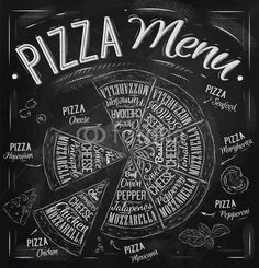 The names of dishes of Pizza drawing with chalk on blackboard© anna42f