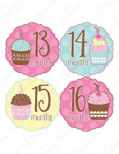 Monthly Onesie Stickers Months 13 to 24 - Amelia - Cute and Whimsical Cupcakes - Baby Month Stickers Great Photo Prop. $9.00, via Etsy.