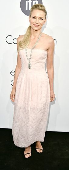 Naomi Watts wears a dusty pink strapless dress by Calvin Klein to the designer's Celebrate Women in Film event at Cannes