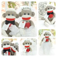 Sock Monkey Doll Bride Due to the doll's eyes, this toy is not suitable for babies or smaller children. Materials Large Original Rockford Red Heel Socks Ultra and Premium Polyfil Classic 4 hole button