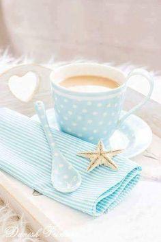 Love the beach vibe with morning coffee. Good Morning Coffee, Coffee Break, Coffee Cafe, Coffee Mugs, Café Chocolate, Mocha, I Love Coffee, Mini Desserts, Cute Food