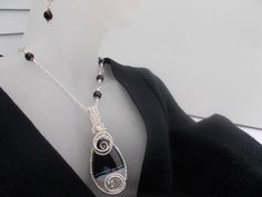 Black agate wire wrapped necklace and earring set-available