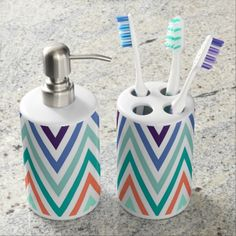Colorful Chevron Pattern Soap Dispenser And Toothbrush Holder
