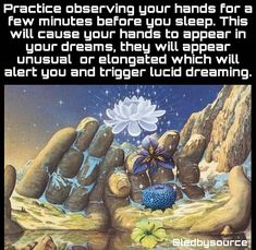 Here's a fun trick to try. When you are able to lucid dream, the possibilities are endless and you can use your dreams to consciously learn and grow while sleeping, and then apply it to your waking life. Awakening Quotes, Spiritual Awakening, Spiritual Wisdom, Spiritual Growth, Lucid Dreaming Tips, Irish Quotes, Astral Projection, Psychic Readings, Psychology Facts