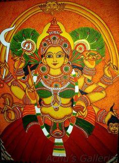 Parvathy Bagavathy Form of Shakthi Saree Painting, Kerala Mural Painting, Fabric Painting, Indian Goddess, Goddess Art, Hand Painted Sarees, Flamingo Painting, Ganesha Art, Hindu Art