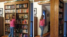 I don't know about you, but I will never outgrow my child-like desire to have secret passages and hidden rooms in my house. This sliding door bookshelf may be one of the most clever and least destructive ways to accomplish this we've seen yet.