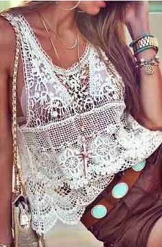 White Lace + Turquoise Belt + Layered Gold. Scoop Neck, Sleeveless, Hollow Out Lace, Women's Tank