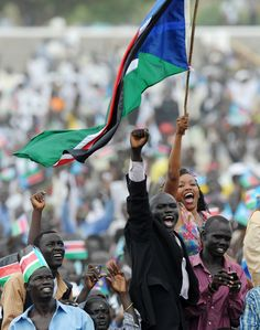 """""""Thousands celebrate their country's independence during a ceremony in the capital Juba on July 9, 2011. South Sudan separated from Sudan to become the world's newest and 193rd nation."""""""
