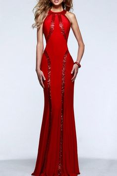 Lady in red. Sequined Mermaid Prom Dress
