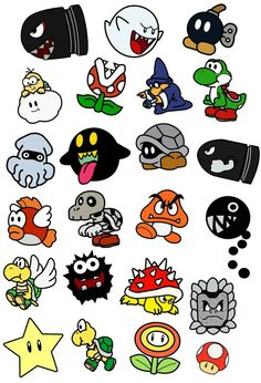 I would use this as a template to make shrinky sinks! Personajes de Mario Bros by on DeviantArt Nintendo Tattoo, Pacman Tattoo, Gaming Tattoo, Desenho Tattoo, Mario Bros., Mario Party, Mario Brothers, Flash Art, Super Mario Bros