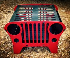 CJ7 Jeep Grill  Product Includes: 5 piece grill frame, 8 pins, large grill top (fits 9 average sized burgers), and charcoal tray.  Product can be taken apart for easy storage. For more details or questions please contact us.  Contact information: Email- tfandhmetalworking@gmail.com Phone- (1)-731-441-7297