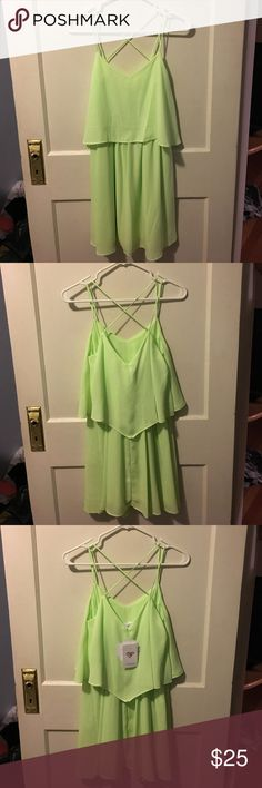Don't Ask Why Dress Neon Green, Strappy back NYMPHE Dresses Midi