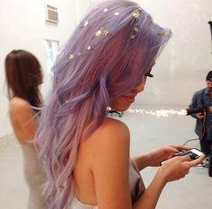 On my bucketlist: decorate my dyed hair with things like these Prince Charmant, Fairy Hair, Coloured Hair, Glitter Hair, Dye My Hair, Grunge Hair, Mermaid Hair, Purple Hair, Hair Dos