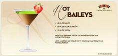 Hot Baileys.  40 ml de Baileys  20 ml de licor de melón  10 ml de vodka