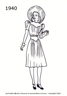 Fashion Silhouette Dress Drawing 1940 - The website associated with this image has lots of Silhouettes from several different years.  Well worth checking out if interested in a particular year/decade