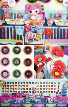 Lalaloopsy Party + Fabulous DIY Button Backdrop // ... Love the 'button' flowers and paper plate backdrop is a great idea