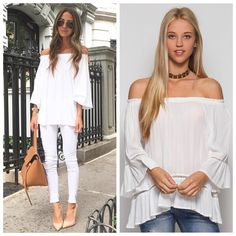 Off shoulder gauze top Bell sleeve off shoulder top, right side picture is the actual top of this listing Tops Blouses