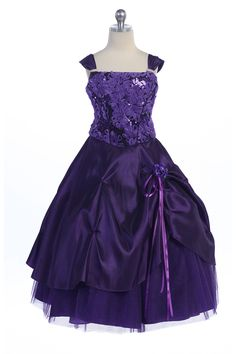 Purple Stunning Taffeta Flower Girl Dress with Sparkly Tulle Underlay MDR513 $86.95 on www.GirlsDressLine.Com