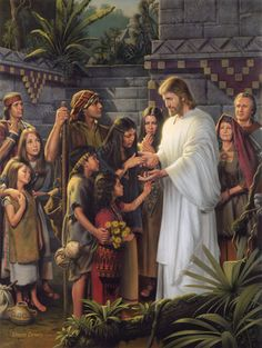 """Book of Mormon-art Christ in America, Jesus Christ, Nephites, Bountiful """"Christ in the Land Bountiful"""", by Simon Dewey Pictures Of Christ, Church Pictures, Bible Pictures, Lds Art, Bible Art, Scripture Study, Family Scripture, Scripture Journal, Book Of Mormon"""