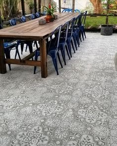 Outdoor cement patio ideas on a budget using easy to use DIY tile stencil patter… Outdoor cement patio ideas on a budget using easy to use DIY tile stencil patterns from Cutting edge stencils for your dream backyard makeover Budget Patio, Diy Patio, Backyard Patio, Backyard Ideas, Garden Ideas, Concrete Patios, Painted Patio Concrete, Stenciled Concrete Floor, Concrete Tiles