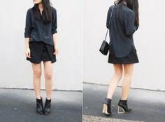 Falda negra con camisa