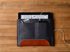 iPad & iPad Air CarryAll - Charcoal Felt & Brown Leather Patch, Pocket | byrd & belle