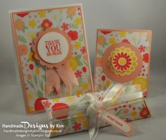 HANDMADE DESIGNS BY KIM - From the collection: 7 Days of Thanks - Handmade Thank You Card, Notebook & Pillow Box using All Abloom Designer Series Paper Stack and other Stampin' Up! products. Check out my blog for more details!