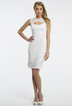 Camille La Vie Jersey Prom Dress with Lace Detail