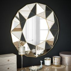 Mirror with 3D Geometric Patterns D 60 cm | Maisons du Monde