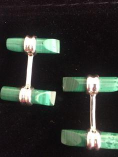 Vintage Malachite  cuff links 925, No Reserve - Catawiki