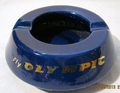 Olympic Airways Promotional Ashtray - Circa 1960-70 Olympic Airlines, New Airline, Aircraft Pictures, Greek Islands, Airplane, Olympics, Promotion, Greece, Aviation