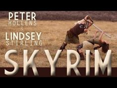 Skyrim - Peter Hollens & Lindsey Stirling. I don't know anything about Skyrim, but I love this video!