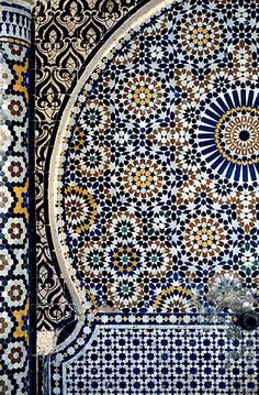 Image MOR 0505 featuring fountain, in Fez, Morocco, showing Geometric Pattern using ceramic tiles, mosaic or pottery.