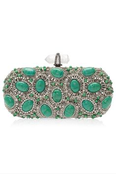 MARCHESA Crystal and Turquoise Clutch