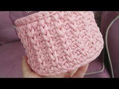 Penye ipten yuvarlak sepet yapımı (model sıra başak) - YouTube