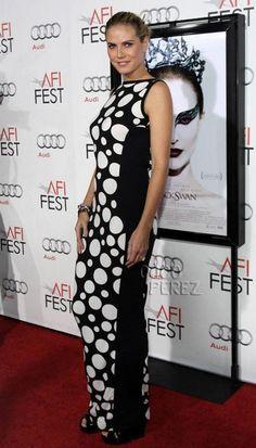 Heidi Klum wearing Mondo's polka dot dress to a red carpet!