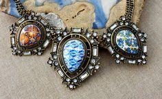 Portugal Antique Azulejo Tile Replica Necklace from by Atrio,