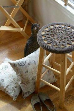 stool cover, capa para banquinho, croche