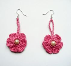 Honeysuckle Pink Crochet Earrings Crochet Flower Earrings Crochet Jewelry  Eco friendly Woman Girl. $7.00, via Etsy.
