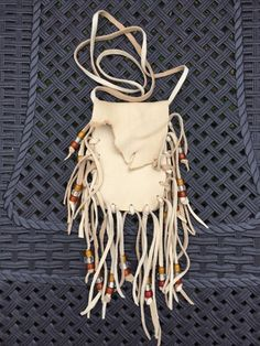 Deerskin Leather Medicine Bag Pouch with Fringe Clear Yellow Glass Beads | eBay
