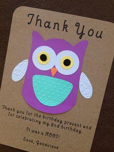 Owl Thank You Card Set for Kid's Birthday Party #owlbirthday #owlbabyshower #owlfirstbirthday