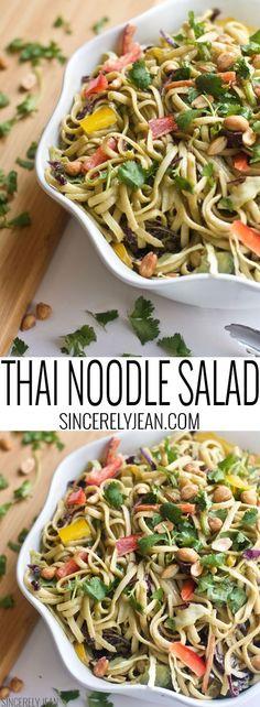 Thai Noodle Salad, spicy Thai, Thai peanut sauce, asian food, salad, appetizer, spring, summer, baby shower food, shower food, spicy, pasta, noodles, recipe, easy, vegetables